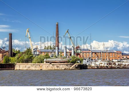 Cruiser Aurora On Repairs At The Dock Of Kronstadt.saint-petersburg.