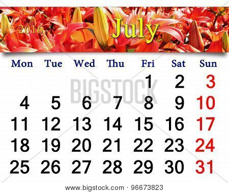 calendar for July 2016 with red lilies