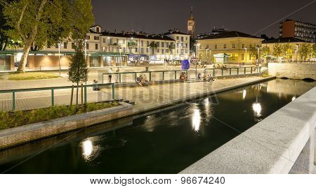 Darsena, Milan city, summer night. Color image