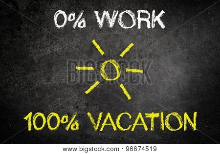 Conceptual 0% Work and 100% Vacation Texts with Sun in the Middle Written on a Black Chalkboard