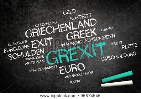 Grexit or Greek Exit Concept with Other German Related Words Written on Blackboard with Two Chalks in the Corner