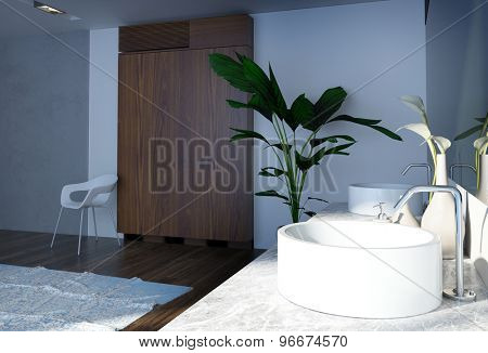 Simple Architectural Interior Design of a Spacious Home Bathroom with Green Plants and Wooden Cabinet. 3d Rendering.