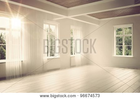 Large empty spacious bright white loft room lit by numerous windows overlooking green trees for your furniture placement. 3d Rendering.
