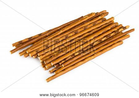 Heap Of Salty Bread Sticks Isolated On White