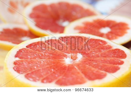 grapefruits cut by pieces