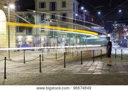 The Tram of Milan city, summer night. Color image