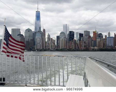 View Of Lower Manhattan From A Hudson River Ferry