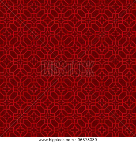 Seamless Chinese window tracery cross flower line pattern background.