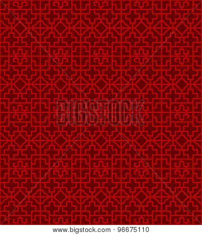 Seamless Chinese window tracery cross square pattern background.