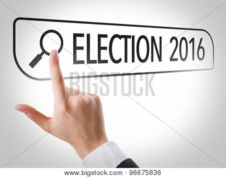 Election 2016 written in search bar on virtual screen