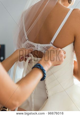 Bride Preparing For A Wedding