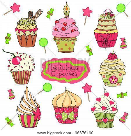 Cupcake Doodle Set