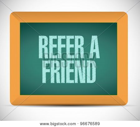 Refer A Friend Chalkboard Sign Concept