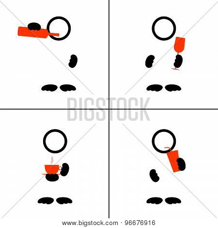 Man Icon With Drink Color Vector