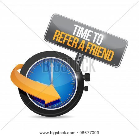 Time To Refer A Friend Sign Concept