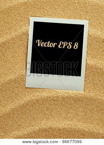 Summer like retro style empty polaroid photo card lying on a sea sand. Sunny summer background. Vector illustration EPS 8.