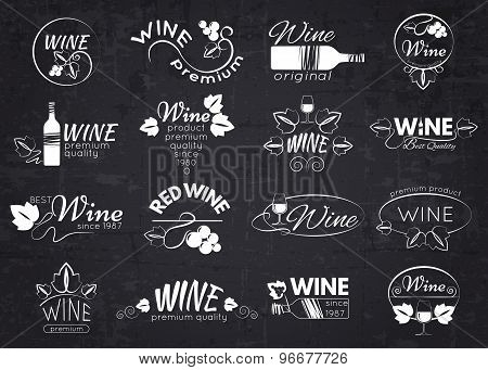 Set of wine labels, badges and logos for design over blackboard.