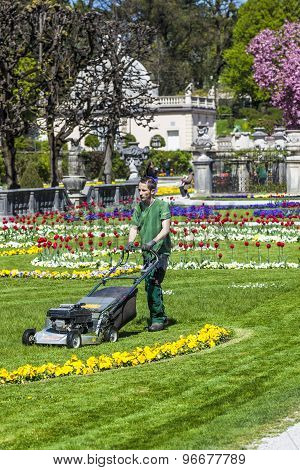 Lawn Mover Machine Prepares The Green In Mirabelle Gardens