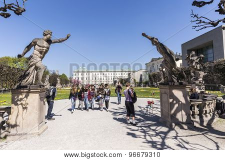 Visitors Leave The Mirabell Gardens Park In Salzburg