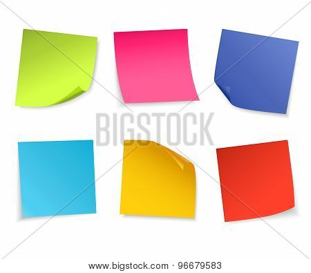 Set of isolated colorful paper notes.