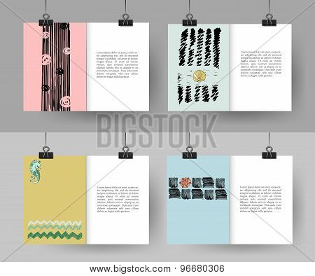 Set of creative hand drawn vintage cards. Best creative hand made design for poster, placard, brochu