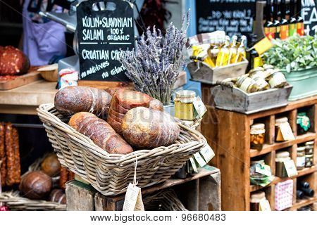 London, UK - June 12, 2015: Salami In A Basket at the Borough Market
