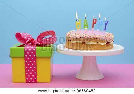 Bright Color Gift Box With Cake And Candles.