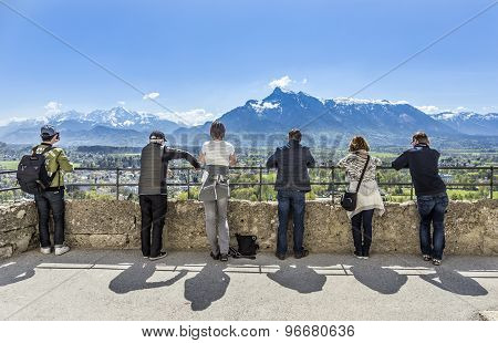 People Watch The Alps From Castle Hohensalzburg In Salzburg