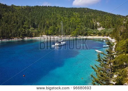 amazing panorama of Foki Fiskardo Beach, Kefalonia
