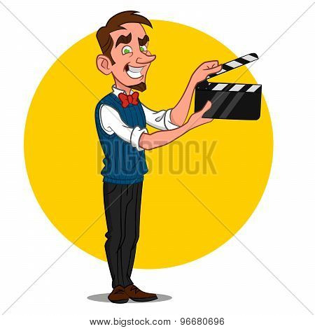 man with film slate.