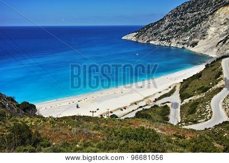 View of beautiful Myrtos bay road to beach, Kefalonia