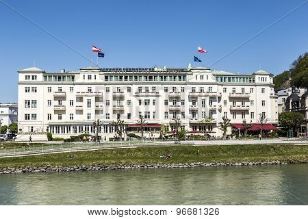 Hotel Sacher At Salzach River In Salzburg