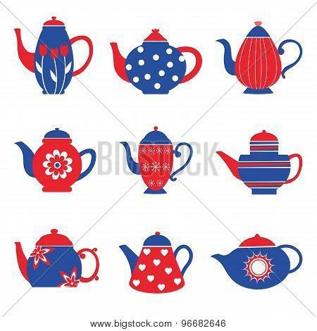 Colorful tea pots collection