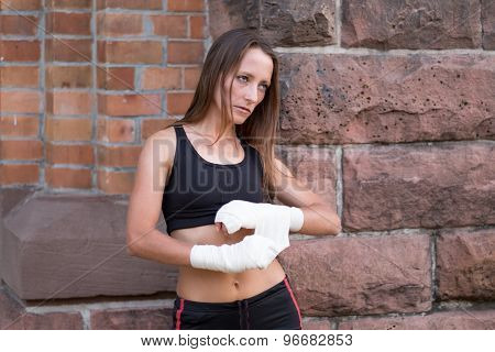 Serious Female Boxer