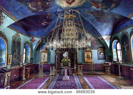 Ancient Mosaics Icons Chandelier Rectory Saint Michael Vydubytsky Monastery Kiev Ukraine