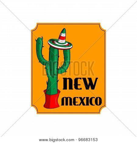 Poster New Mexico. Mexican Sambrero And Cactus