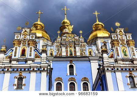 Saint Michael Monastery Cathedral Spires Facade Paintings Kiev Ukraine