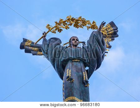 200 Foot Independence Monument Peasant Girl Berehynia  Maidan Square Kiev Ukraine