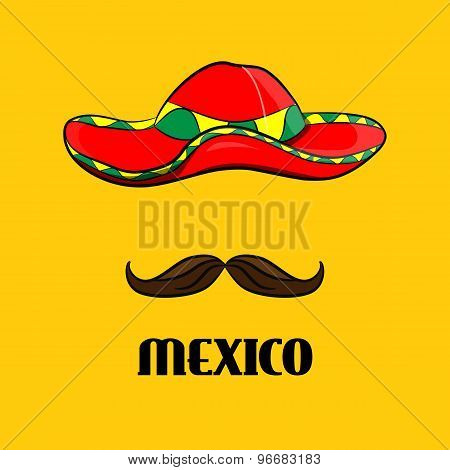 Poster Sombrero And Mustache, Real Mexican Accessories