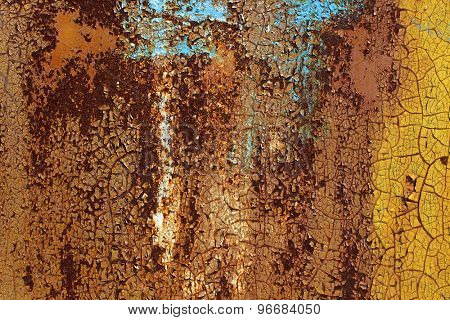 Rusty metal wall colored dye