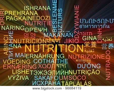 Background concept wordcloud multilanguage international many language illustration of nutrition glowing light