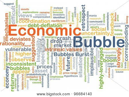 Background concept wordcloud illustration of economic bubble