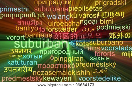 Background concept wordcloud multilanguage international many language illustration of suburban glowing light