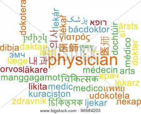 Background concept wordcloud multilanguage international many language illustration of physician