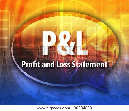 word speech bubble illustration of business acronym term P&L Profit and Loss Statement