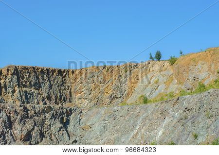 Abandoned Quarry With Blue Sky