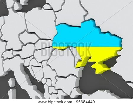 Map of worlds. Ukraine. 3d
