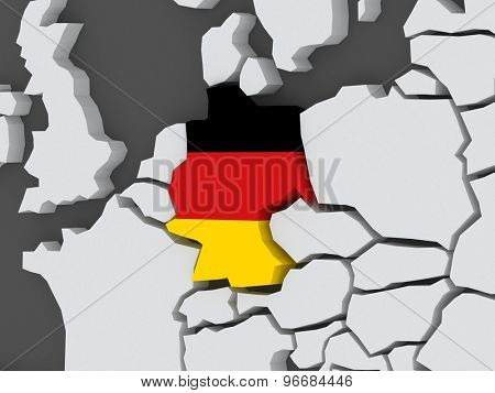 Map of worlds. Germany. 3d