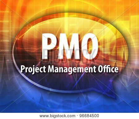 word speech bubble illustration of business acronym term PMO Project Management Office