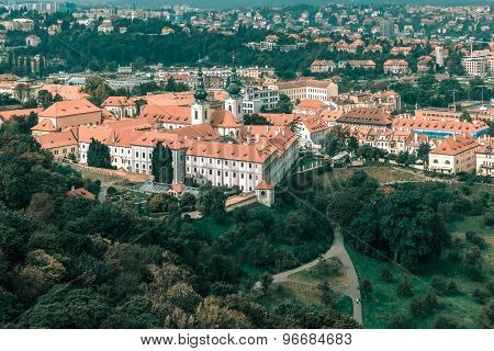 Aerial view of Strahov Monastery, Prague, Czechia